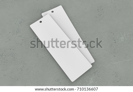 White blank tag and bookmark for template design and mock up. 3d render illustration.