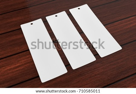 White blank tag or label and bookmark or bookmaker for template design and mock up. 3d render illustration.