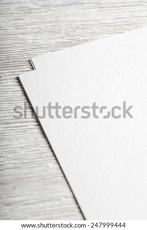 White blank textured paper page closeup mockup