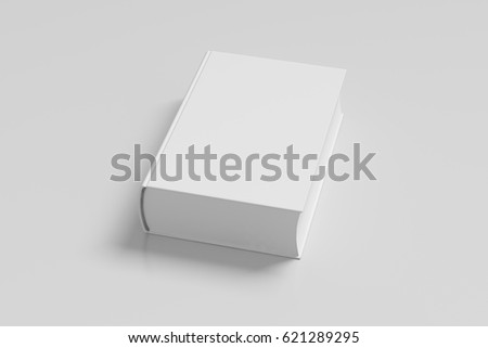 White blank thick book cover portrait orientation on white background with clipping path. 3d render ストックフォト ©