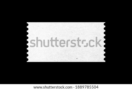 white blank ticket with paper pattern texture for mockup design. isolated ticket form in black background.