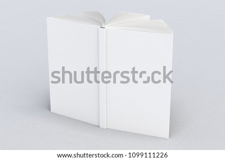 White blank vertical book cover standing isolated on white background with clipping path around cover. 3d render