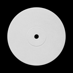 White Blank Vinyl Record Disc Label Sticker Template Mock Up. Isolated on Black