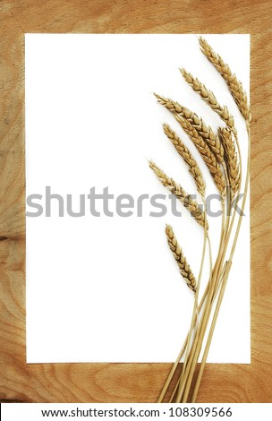 White blank with ears of wheat on wooden table
