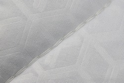 white blanket with polyester filling, cotton cover, quilted with machine-stitched chain stitch