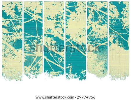 white blossom on blue wood textured banner set isolated