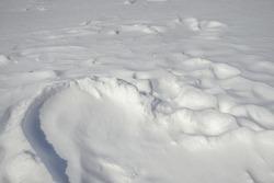 White blown freshly fallen snow as background