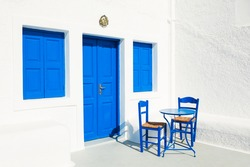 White-blue national greek architecture on Santorini island, Greece.