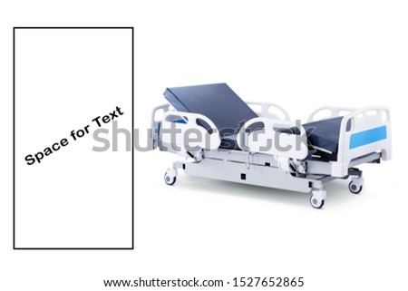 White Blue Patient Bed Isolated on White Background. Four Section Hospital Bed. Hospital Equipment. Medical Trolley. Wheeled Stretcher Side View. Electric Variable Height Bed. Medical Equipment #1527652865
