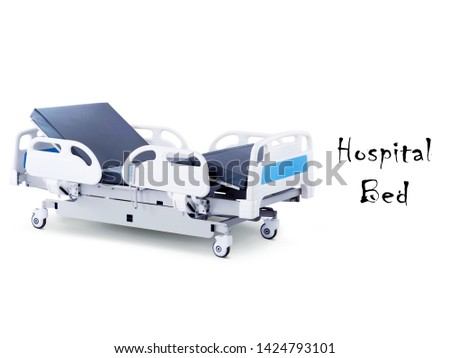 White Blue Patient Bed Isolated on White Background. Four Section Hospital Bed. Wheeled Stretcher Side View. Electric Variable Height Bed. Medical Equipment. Hospital Equipment. Medical Trolley #1424793101