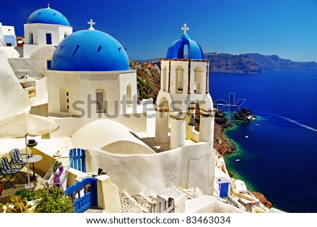 white-blue Santorini - view of caldera with churches - stock photo