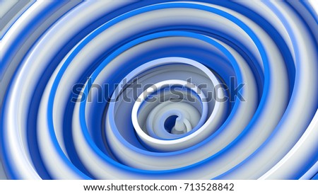 Stock Photo White blue twisted shape. Computer generated abstract 3D render illustration