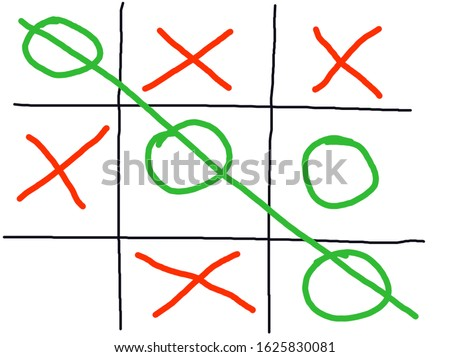 White board of Tictac toe. Childhood game of Xs and Os. Foto stock ©