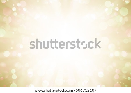 white bokeh blur background / Circle light on yellow background / Light gold sparkle background