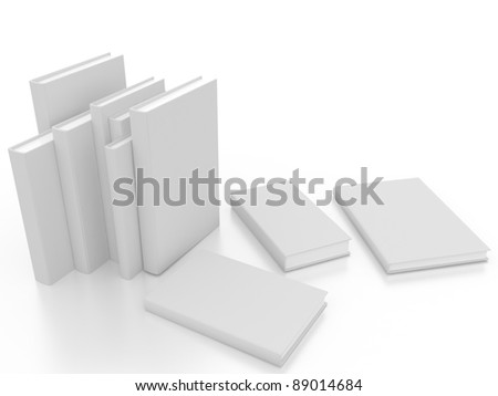 white book on a white background in 3-d visualization - stock photo