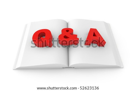 white book with red Q&A sign
