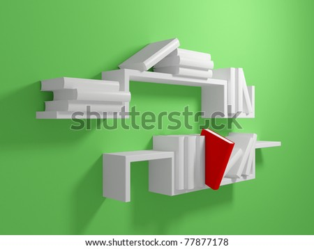 White bookshelf on green wall with blank white books and one falling red book. 3d rendered.