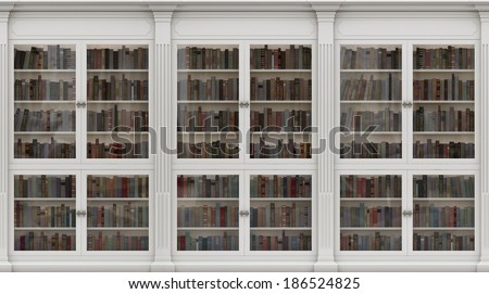 White Bookshelf. Seamless texture (vertically and horizontally). Background. Library in the Romanesque style.