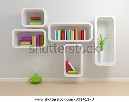 White bookshelf with a white and green books against beige wall.