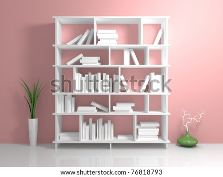 White bookshelf with a white books against pink wall.