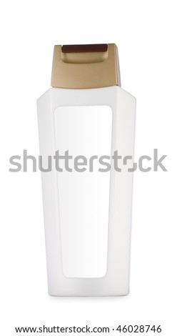white botlle of shampoo isolated