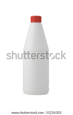 white bottle, cleaning product on white background