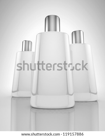 White bottles with gray cap on reflective surface and white background