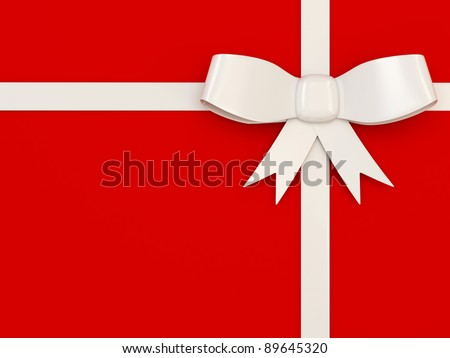 White Bow on red background