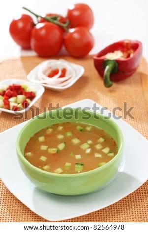 White bowl of tomato soup - Gaspacho