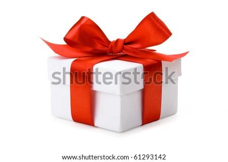 White box, bow and ribbon