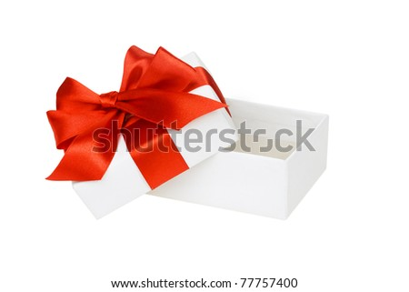 White box, bow and ribbon