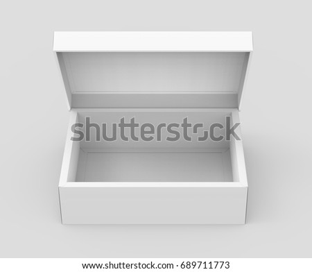 White Box Mockup Blank Template With Lid In 3d Rendering