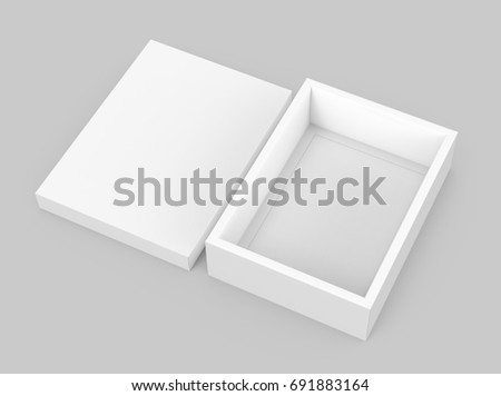 White Box Mockup Blank Template With Separate Lid In 3d Rendering