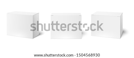 White box mockup. Blank packaging boxes, cube perspective view and cosmetics product package mockups. Cardboard or plastic box or medicine package. Realistic 3d  illustration isolated icons set