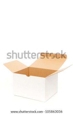 White box opening on white isolated