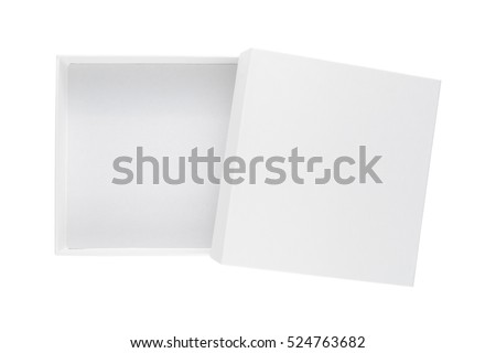 White box with cover isolated on white background