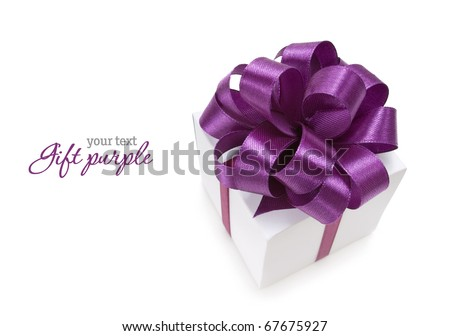 White box with purple ribbon on white background. Copy-space