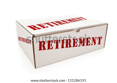 White Box with the Word Retirement on the Sides Isolated on a White Background.