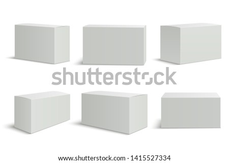 White boxes templates. Blank medical box 3d isolated paper packaging. Rectangle carton package  mockup set