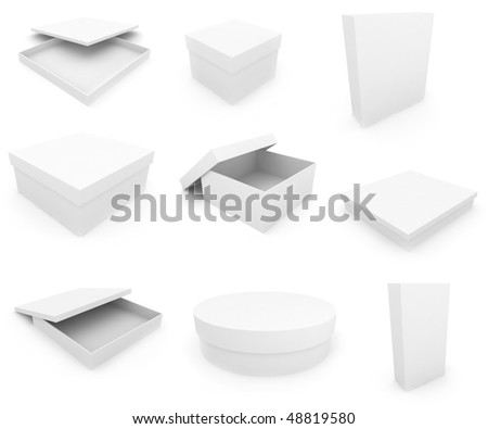 White boxs over white background. 3d render