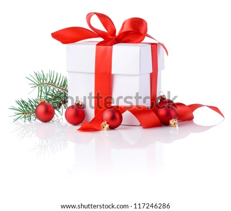 White boxs, red ribbon, tree branch and christmas ball Isolated on white background