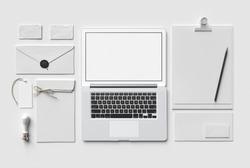White Branding MockUp with laptop