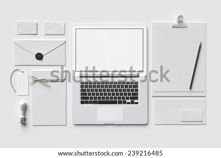 White Branding MockUp with laptop