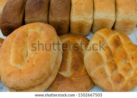 white bread in various forms and various roasting