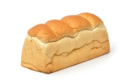 White bread loaf isolated on white background.