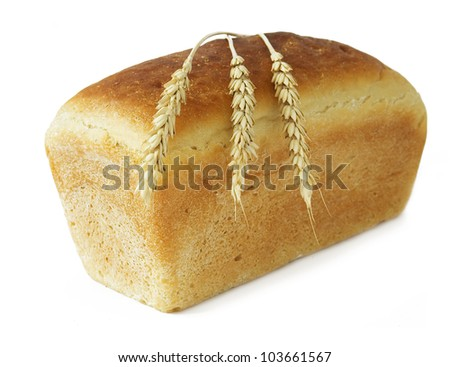 White bread loaf with bread grains isolated on white background