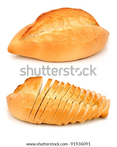 White Bread made from wheat flour isolated on a white background