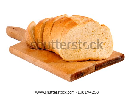 White bread on the wooden board