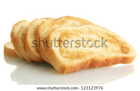 White bread toast, isolated on white