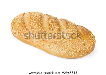 White bread with sesame. Isolated on white background